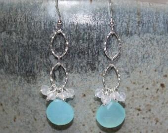 Aqua Chalcedony Earrings, Moonstone, Sterling Silver, Cluster Earrings, Aqua Chalcedony Jewelry, Gemstone Earrings