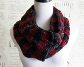 SALE--Striped Convertible Infinity Scarf Charcoal and Maroon Burgundy Wine Fleck for Men and Women, Ready to Ship