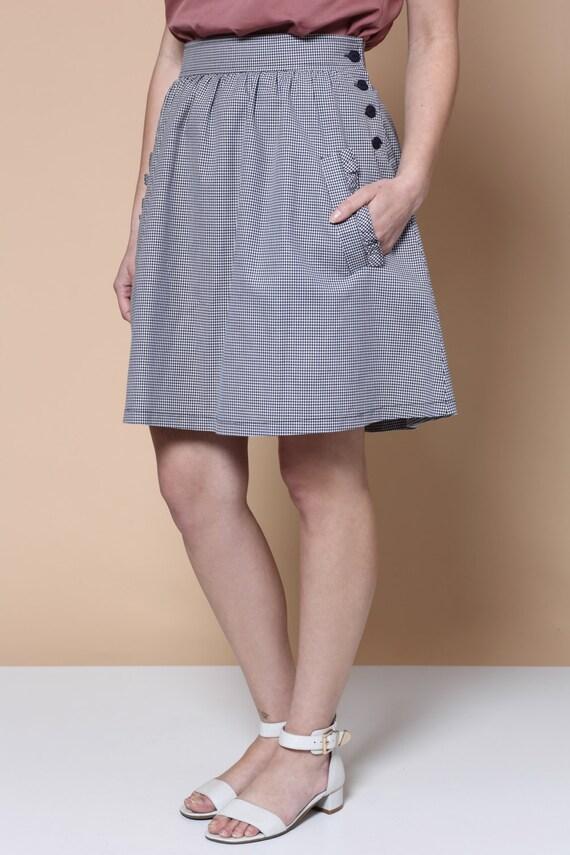 Sale Gingham skirt Mini skirt black and white skirt