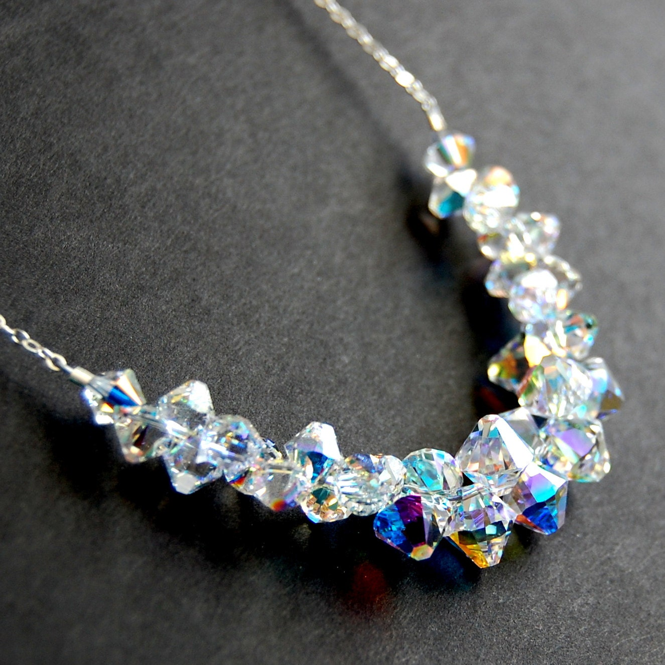 aurora borealis swarovski crystal necklace bridal necklace