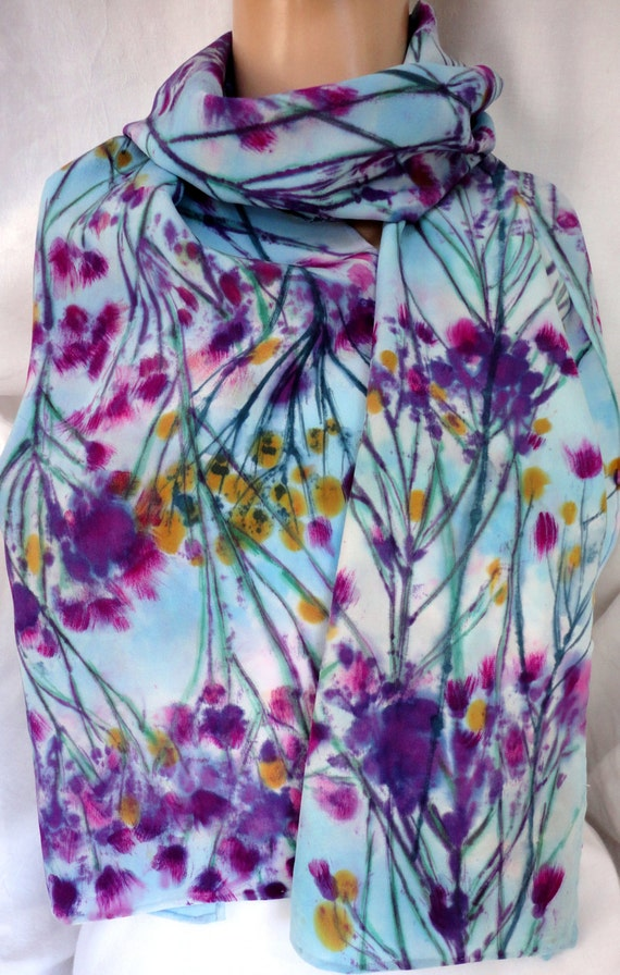 silk scarf painted dyed Wild Asters floral large long unique morgansilk