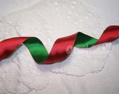 """3 Yards 1.5""""  Red & Green Reversible Ribbon Wired BTY Christmas Holiday Wedding Gift Decor Wrap Wreath Classic Satin"""