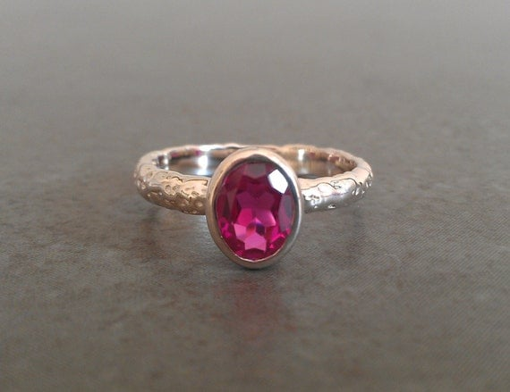 Rustic Moonrock Oval Ruby Ring - Lab Created Ruby - Sterling Silver