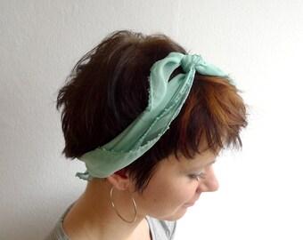 Mint Beaded Chiffon Scarf, Knotted Headband, Mint Green Headscarf, Chiffon Bandana, Pastel Mint Neck Scarf, Spring Summer Sheer Scarf
