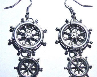 Steampunk Silver Large Wheel Gear Gears Military Navy Earrings Steam Punk Sailor Boat Pilot Captain Pirate