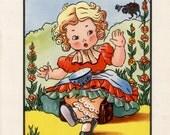 Nursery print of LITTLE MISS MUFFET, Nursery Rhyme, baby girl nursery, nursery decor girl