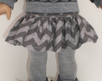 GRAY CHEVRON RUFFLED Skirt fits 18 inch doll clothes