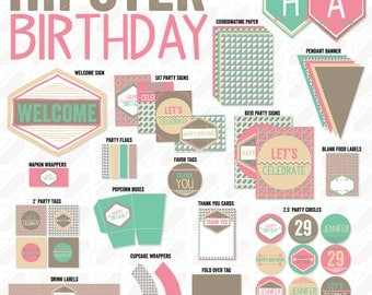 Hipster Party PRINTABLE Deco Art Birthday by Love The Day