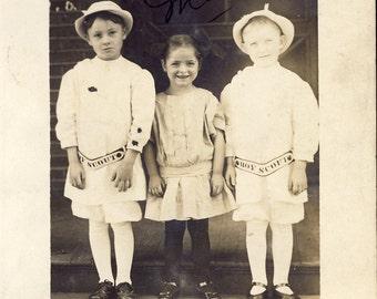 Early BOY SCOUT in UNIFORM Denison Texas Photo Postcard 1911