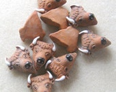 Peruvian Ceramics Brown Buffalo Head Pendant Bead Craft Supplies Jewelry Making Bead Supplies Ceramic Beads (2)