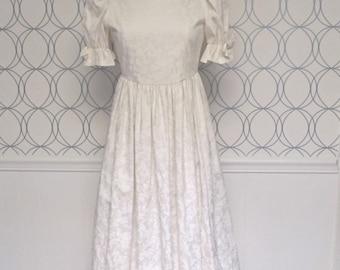 Vintage Laura Ashley White Damask Dress | Ivory Puffy Sleeve Empire Waist Wedding Dress | Small Medium