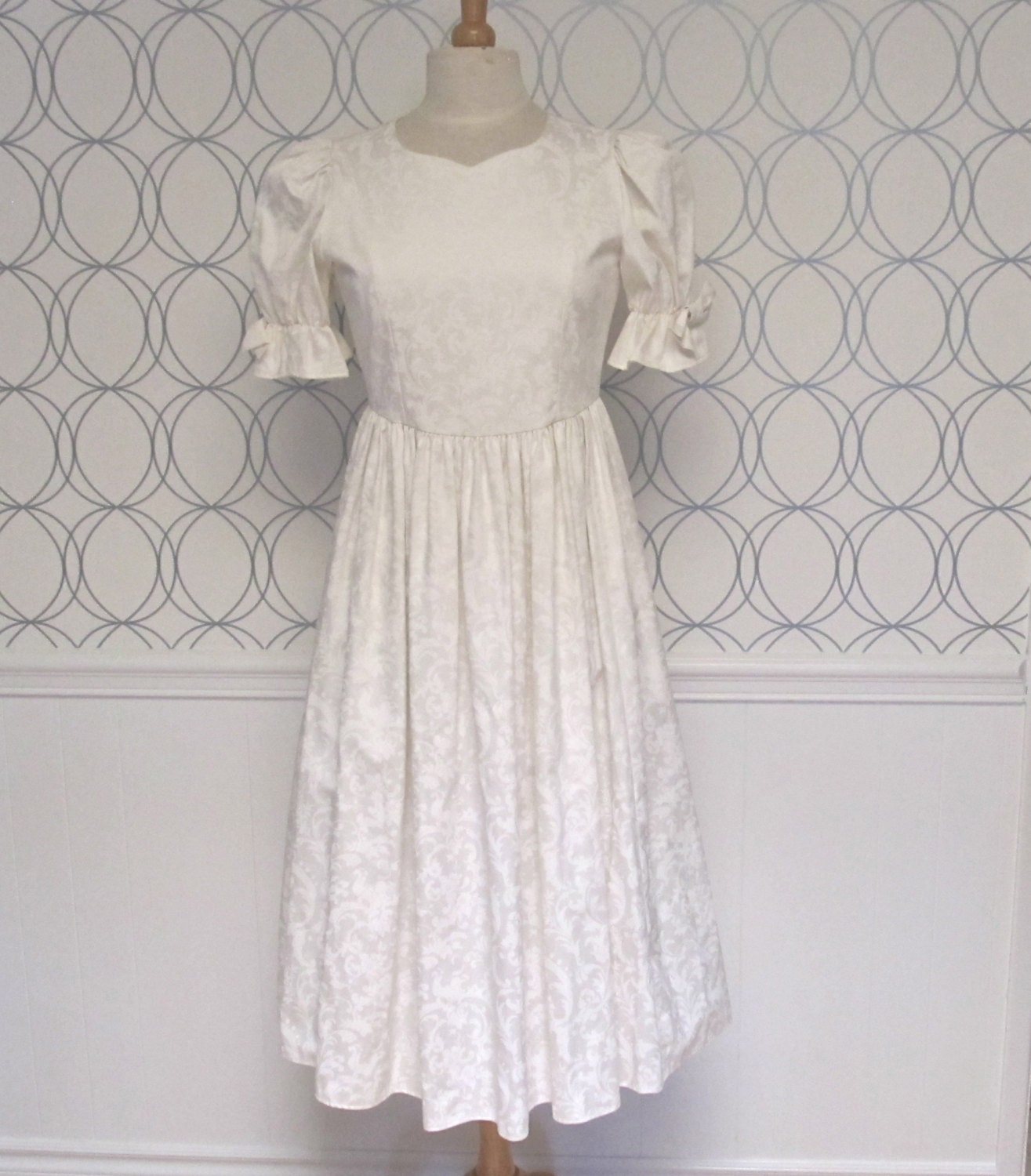 vintage laura ashley white damask dress laura ashley wedding dresses zoom
