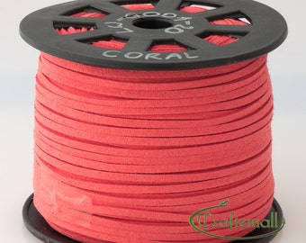 Faux suede cord 3mm wide - coral - 3 meters