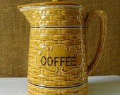 VINTAGE MID CENTURY Japan Coffee Carafe Decanter Covered Ceramic Coffee Pitcher Chase Japan Ceramics