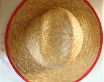 VINTAGE STRAW HAT Wide Brim Straw Hat with Red Trim Multi Colored Braided Strap