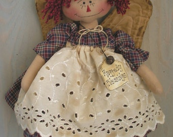 PDF E- Pattern #13 Raggedy Ann Angel Primitive Folk Art Annie Cloth Doll Country Decor Sewing Craft