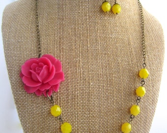 Pink Flower Necklace Statement Necklace Pink and Yellow Jewelry Bridesmaid Gift Rustic Chic Wedding Jewelry Spring Wedding