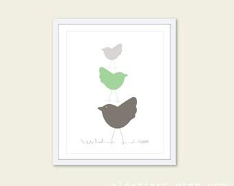 Birds Wall Art - Bird Print - Three Birds in Pastel Mint Green Nursery Art Print - Baby Shower Art Gift - Aldari Art