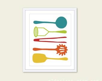 Cooking Utensils Digital Print Kitchen Wall Art  - Teal Yellow Orange Tan Slate - Simple Home Decor - Under 20