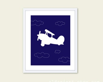 Airplane Art Print - Baby Boy Nursery Decor  - Airplane and Clouds - Modern Wall Decor - Navy Blue