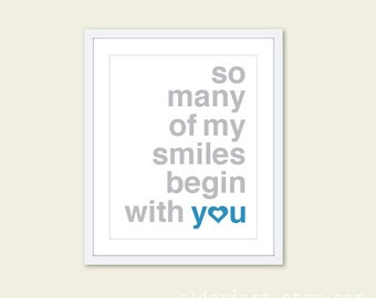 So Many Of My Smiles Begin With You Art Print  - Typography Poster Grey and Blue - Baby Boy Nursery Decor - Yellow and Grey