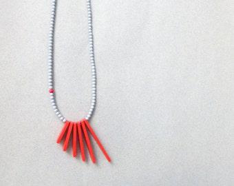 red grey necklace - geometric tribal minimalist contemporary jewelry