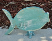 Free Standing Wooden Fish, Lake House Decor, Beach-y Mantle Display