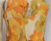 50s bathing suit/ 60s Ohrbachs Swimsuit/ Cotton Hawaiian Hibiscus Print Swimsuit/ Pinup Romper M-L