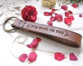 Personalized Message Leather KeyChain Hand-stitched and stamped
