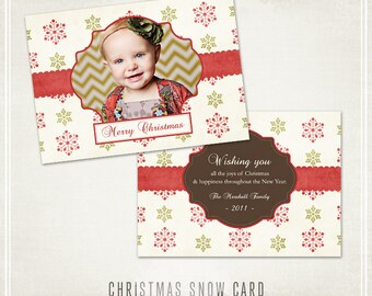 Christmas Snow Holiday Card Template- Millers Lab  5x7