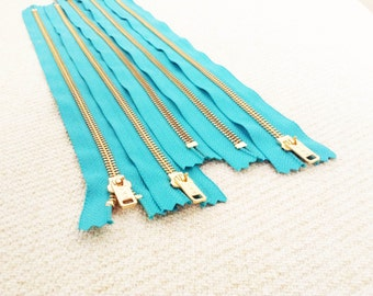 14inch - Turquoise Metal Zipper - Gold Teeth - 5pcs
