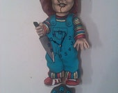 Childs Play/ Chucky Ghoulish pendulum clock with swinging tombstone
