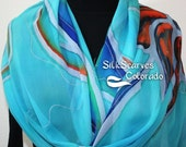 Silk Scarf Handpainted. Aqua, Orange, Navy Blue Hand Dyed Silk Wrap. Handmade Silk Shawl FLORIDA DREAM. Luxurious Big 22x90. Birthday Gift