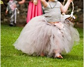 Gray Lace Flower Girl Dress -Formal Wear Tutu and Detachable Train--Pink Champagne--Perfect for Weddings