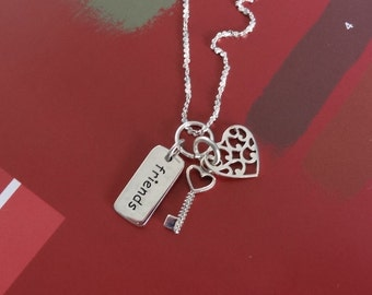 Best Friend Charm Necklace, Sterling Silver with Skeleton Key, Heart Charms, BFF Jewelry. Gifts For Her