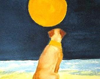 Labrador Retriever art, yellow Lab dog watercolor painting print, angel dog, matted 8x10 giclee, pet memorial
