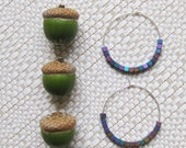 FIVE DOLLAR SALE! Rainbow Hematite Earrings Titanium Hoops Geometric Jewelry Squares Orchid Purple Peacock Green Sunset Orange Golden Beads