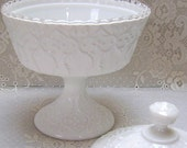 Fenton Silver Crest - Spanish Lace - Covered Candy Dish - Milk Glass - circa 1960s