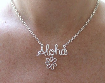 Aloha Necklace, Custom Word of your Choice, Hawaiian Necklace Hello Greeting Necklace Travel Gift, Necklace Jewelry Gifts under 30