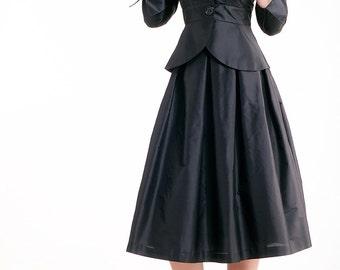 Silk Taffeta Pleated Skirt