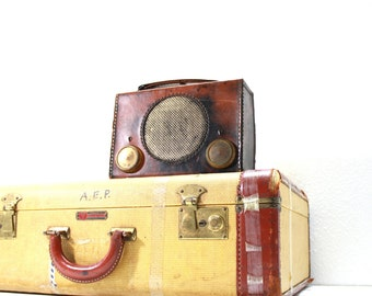 Vintage Brown Leather  AM Radio