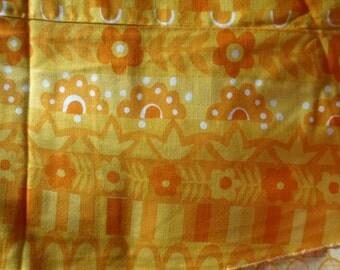 SALE Bright Summer Yellow Orange & White Heavy Cotton VERA Table Cloth