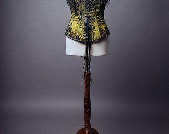 SALE item. Gothic corset, burlesque deep green & black corset. UK 16-18
