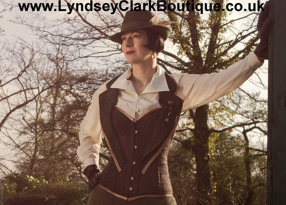 Recycled tweed steampunk corset. Handmade cosplay/ costume/ Doctor who. UK size 10