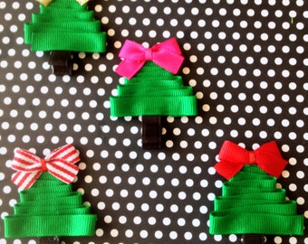 Christmas Tree Hair Clippie- Solid