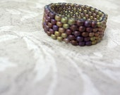 Brown Beaded Band Ring in Light Sand and Maroon Matte Beads