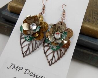 Starbucks Mini Rose and Leaf Earrings.  Recycled Soda Can Art. Dangle & Drop Earrings.