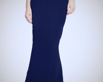 Floor length blue maxi skirt, Mermaid silhouette with train high quality tailor made, High fashion ,plus size custom order many colors