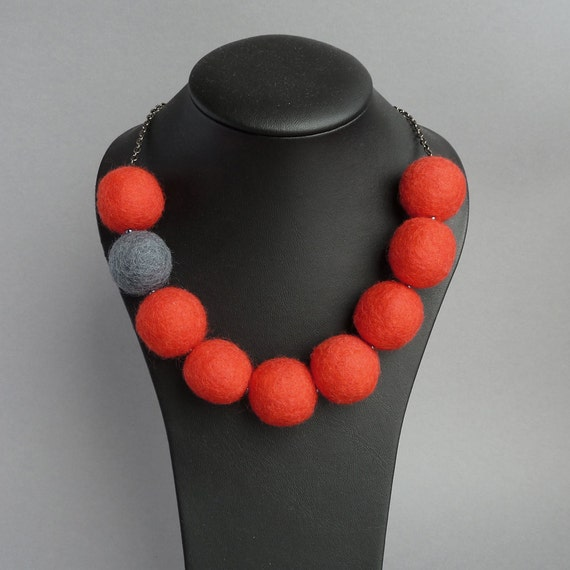 Orange Necklace - Deep Orange Felt Ball Necklace - Statement Necklace - Gray and Warm Red Jewelry - Chunky Necklaces