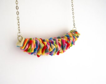Felt necklace, rainbow jewelry, chunky necklace, bib necklace, boho jewelry, fiber jewelry, statement necklace, gifts for her, under 20